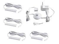 Комплект світильників світлодіодних з ножним вимикачем накладних для підсвітки меблевих полиць 4шт 220V біле
