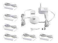 Комплект світильників світлодіодних з ножним вимикачем накладних для підсвітки меблевих полиць 6шт 220V біле