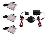 Комплект світлодіодних світильників квадратних для меблів 3шт 6W 220V біле світло