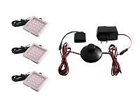 Комплект світлодіодних світильників квадратних для меблів 3шт 6W 220V синє світло