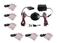 Комплект світлодіодних світильників квадратних для меблів 6шт 12W 220V синє світло