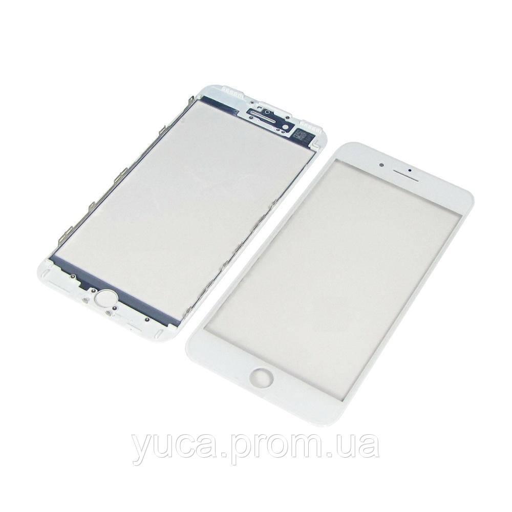 Стекло тачскрина для Apple iPhone 7 Plus белое с рамкой и OCA плёнкой HC