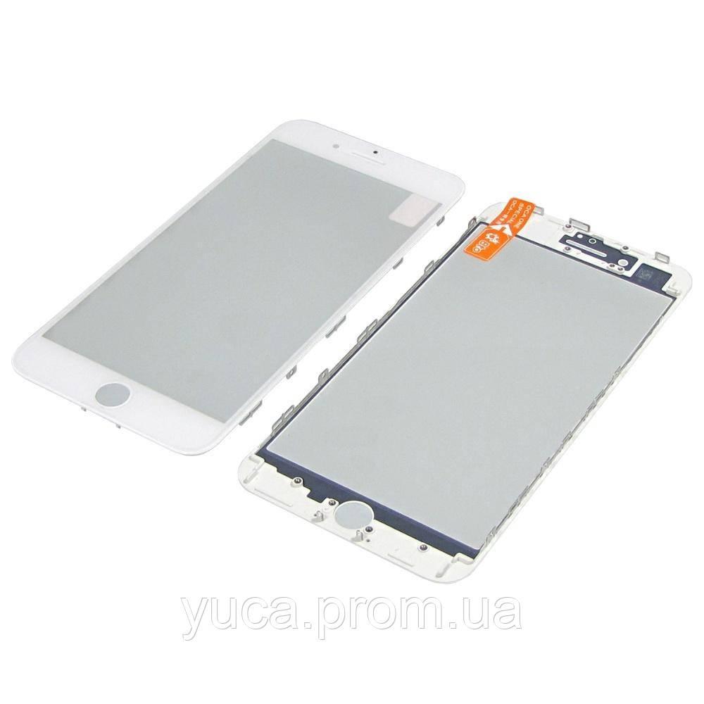Стекло тачскрина для Apple iPhone 8 Plus белое с рамкой и OCA плёнкой HC