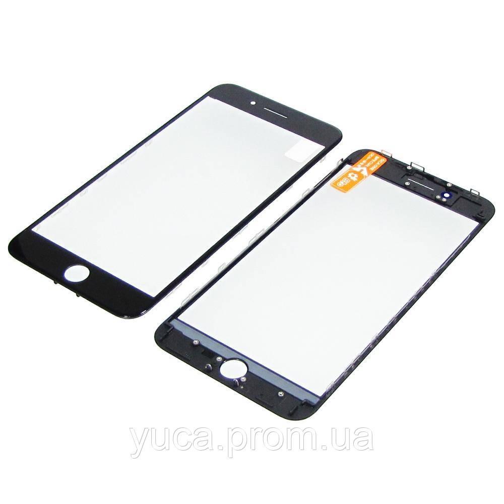 Скло тачскріна для APPLE iPhone 8 Plus чорне з рамкою та OCA плівкою high copy