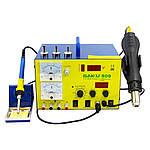 Паяльна станція BAKU BK909 фен, паяльник, блок живлення 15V 1A, тестер, стрілкова і цифрова індикація, RF індикатор