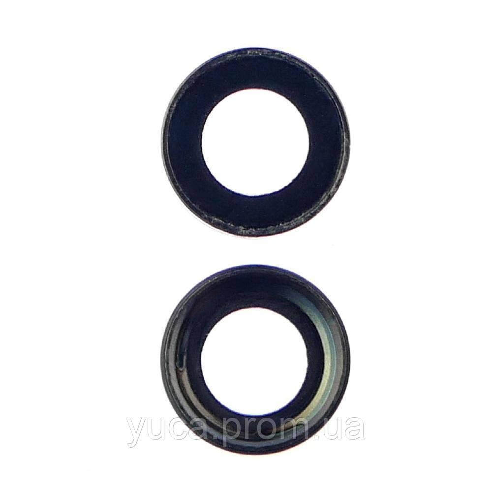 Скло камери для Apple iPhone 7 чорне з рамкою