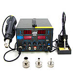 Паяльна станція AIDA 5000 фен, паяльник, блок живлення 30V 5A, USB 5V 2A A, цифрова індикація