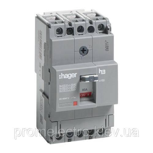 Автоматичний вимикач x160, 80А, 3п, 18kA, Тфікс./Мфікс, Hager HDA080L