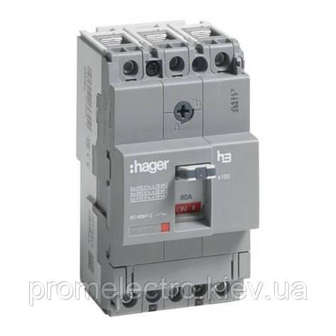 Автоматичний вимикач x160, 80А, 3п, 18kA, Тфікс./Мфікс, Hager HDA080L, фото 2