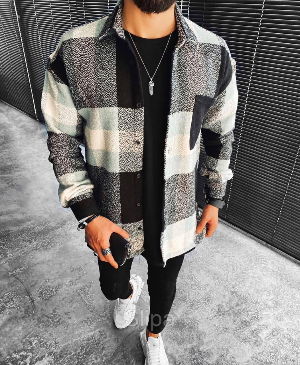 Мужская стильная байковая рубашка оверсайз, белая с чёрным ( Турция )