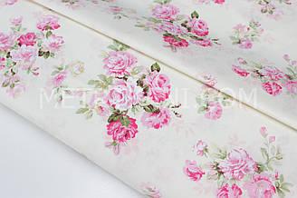 """Сатин """"Рожеві троянди"""" фон айворі № 160-07 з"""