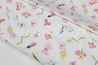 """Сатин """"Пташки, метелики, квіточки"""" рожеві на білому тлі № 160-60 з"""