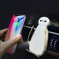Автомобильный держатель телефона умный с беспроводной зарядкой  Techno Smart C5 Пингвинчик, фото 1