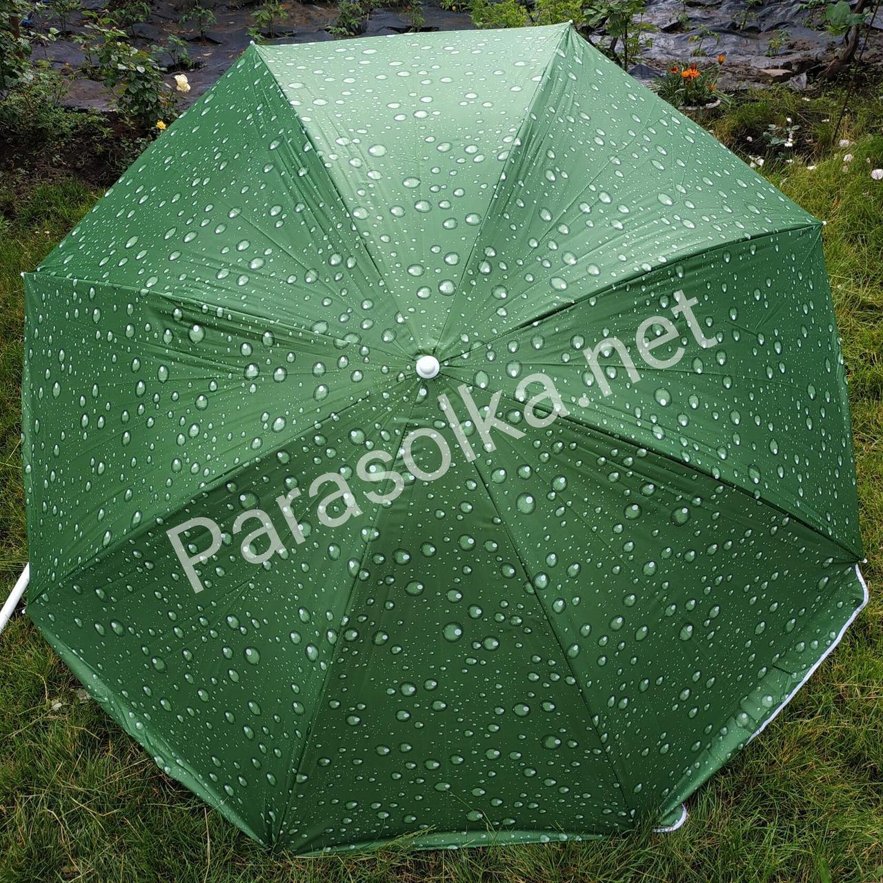Пляжний зонт зелений з краплями 2,2 метра