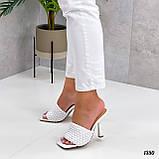 Шлепанцы / сабо женские белые на каблуке 9 см эко-кожа, фото 2
