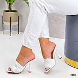 Шлепанцы / сабо женские белые на каблуке 9 см эко-кожа, фото 4