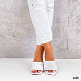 Шлепанцы / сабо женские белые на каблуке 9 см эко-кожа, фото 5