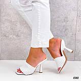 Шлепанцы / сабо женские белые на каблуке 9 см эко-кожа, фото 6