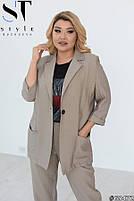 Шикарный костюм-тройка в стиле casual из пиджака, брюк и футболки с принтом с 48 по 52 размер, фото 5