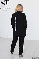 Шикарный костюм-тройка в стиле casual из пиджака, брюк и футболки с принтом с 48 по 52 размер, фото 3
