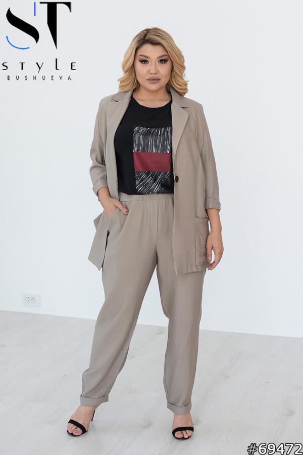 Шикарный костюм-тройка в стиле casual из пиджака, брюк и футболки с принтом с 48 по 52 размер