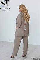 Шикарный костюм-тройка в стиле casual из пиджака, брюк и футболки с принтом с 48 по 52 размер, фото 6