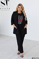 Шикарный костюм-тройка в стиле casual из пиджака, брюк и футболки с принтом с 48 по 52 размер, фото 2