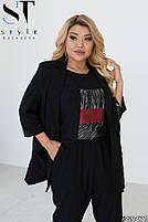 Шикарный костюм-тройка в стиле casual из пиджака, брюк и футболки с принтом с 48 по 52 размер, фото 4