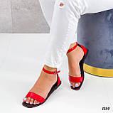 Босоніжки жіночі червоні еко шкіра, фото 4