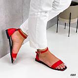 Босоніжки жіночі червоні еко шкіра, фото 5