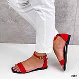 Босоніжки жіночі червоні еко шкіра, фото 6