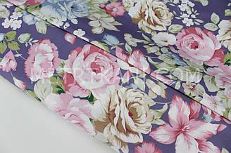 """Сатин """"Великі квіти"""" на фіолетовому тлі № 160-71 з"""