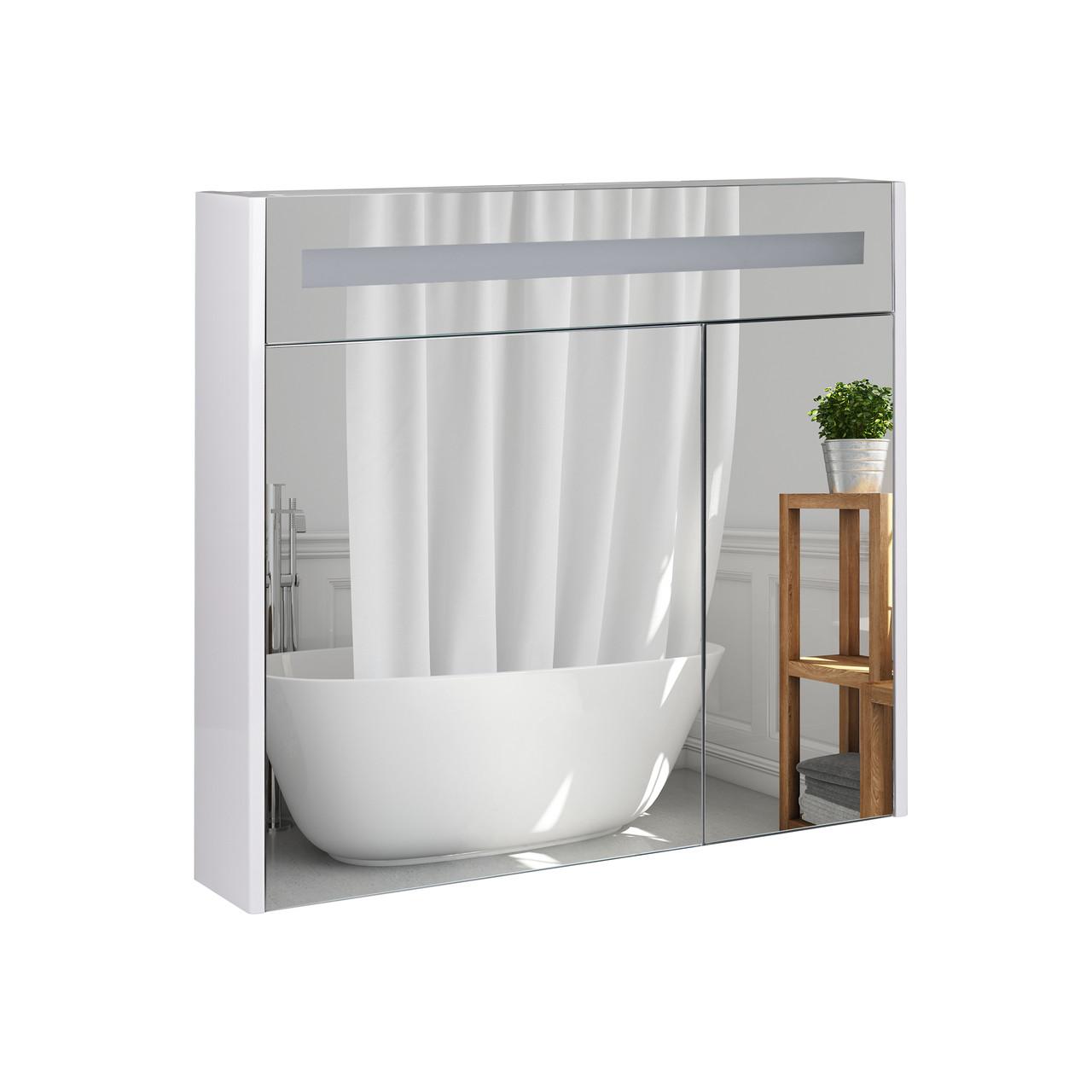 Зеркальный шкаф подвесной Qtap Robin 800х730х145 White с LED-подсветкой QT1377ZP8001W