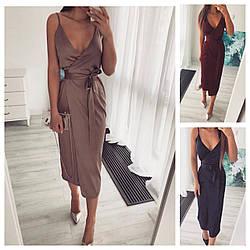 Р 42-50 Ошатне літній шовкову сукню на запах 24095