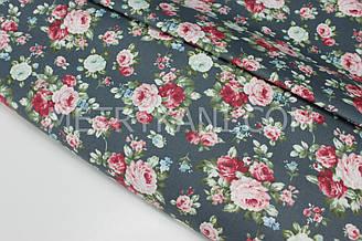 """Сатин """"Дрібненькі трояндочки"""" на графітово-зеленому тлі № 160-202 з"""
