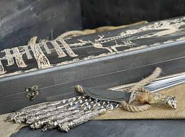 """Набір шампурів ручної роботи """"Дикі звірі"""" з ножем, в розписному буковому кейсі"""