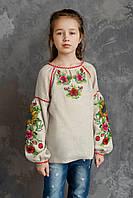 Дитяча вишиванка для дівчинки, рожево-синій орнамент, арт. 4317