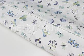 """Сатин """"Пташки, метелики, квіточки"""" блакитно-джинсові на білому тлі № 160-208 з"""