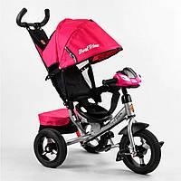 Детский трехколесный велосипед Best Trike 3390 (надувные колеса, родительская ручка фара с USB)