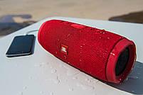 Беспроводная водонепроницаемая блютуз колонка JBL Charge 3 Bluetooth портативная музыкальная акустика красная, фото 3