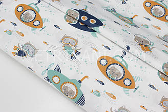 """Сатин """"Коти в підводних човнах"""" на білому тлі № 160-76 з"""