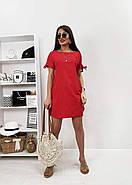 Практичне жіноче плаття з коротким рукавом на зав'язках, фото 2