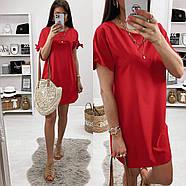 Практичне жіноче плаття з коротким рукавом на зав'язках, фото 3