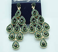 Эффектные серьги с зелёными камнями. Украшения под вечернее платье от RRR. 299