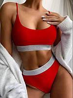 Страстный женский однотонный раздельный купальник - топ с люриксом, красный, фото 1