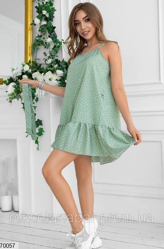 Жіноча сукня міні оливкова в дрібний білий горошок
