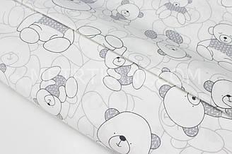 """Сатин """"Мишки в сірих светрах"""" на білому тлі № 160-20 з"""