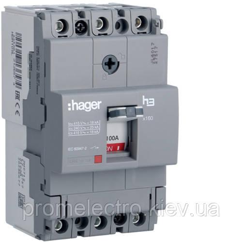 Автоматичний вимикач x160, 100А, 3п, 18kA, Тфікс./Мфікс, Hager HDA100L