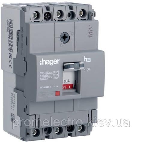 Автоматичний вимикач x160, 100А, 3п, 18kA, Тфікс./Мфікс, Hager HDA100L, фото 2