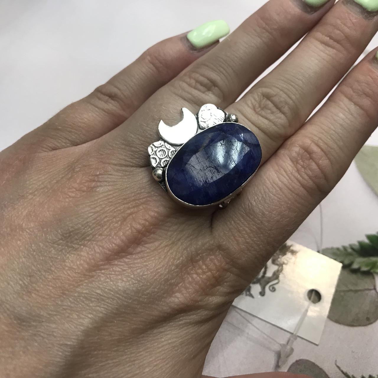 Сапфир кольцо 18,5 размер кольцо с камнем натуральный сапфир в серебре кольцо с сапфиром.